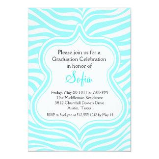Aqua Zebra Graduation Invitation Custom Color