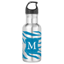 Aqua Zebra print Monogram Water Bottle