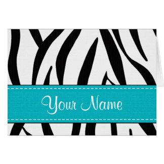 Aqua Zebra Print Note Cards Personalized