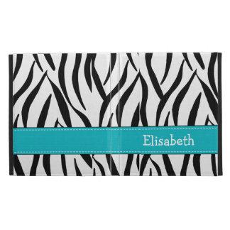 Aqua Zebra Stripe iPad Folio Case Cover
