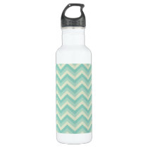 Aqua Zigzag Pattern Water Bottle