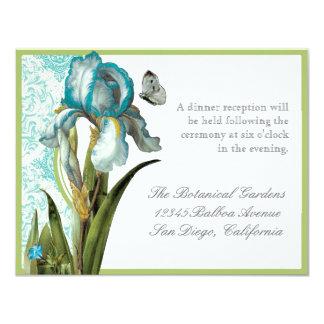 AquaBlue Iris Quatrefoil - Reception Invitation