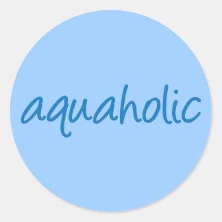 aquaholic 1 classic round sticker
