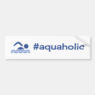 Aquaholic funny swimming blue on white bumper sticker