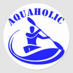 Aquaholic Kayak Guy Classic Round Sticker