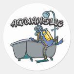 Aquaholic SCUBA Round Stickers