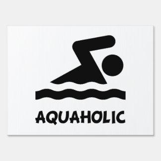Aquaholic Swimmer Lawn Sign