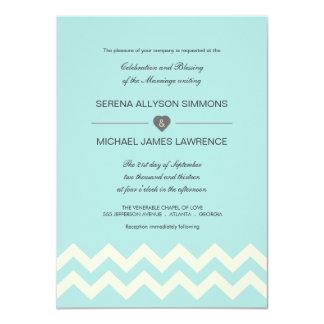 Aqual Blue and Ivory Chevron Wedding Invitations