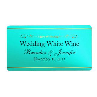 Aquamamrine & Gold Custom Wedding Mini Wine Labels