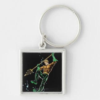 Aquaman con la lanza llavero cuadrado plateado