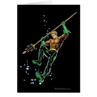 Aquaman con la lanza tarjeta de felicitación