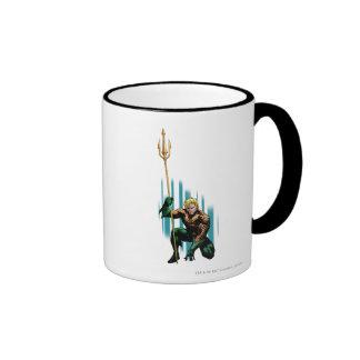 Aquaman Crouching Ringer Coffee Mug