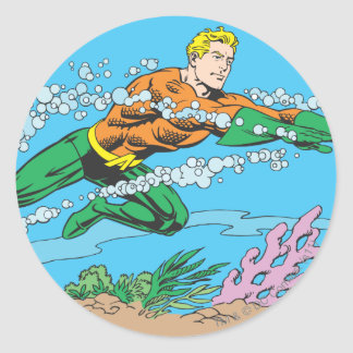 Aquaman Dashes Thru Water Classic Round Sticker