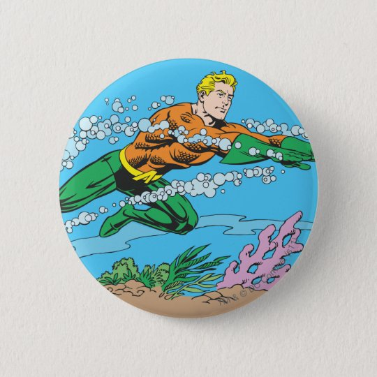 Aquaman Dashes Thru Water Pinback Button