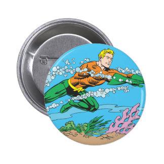 Aquaman Dashes Thru Water Pinback Button