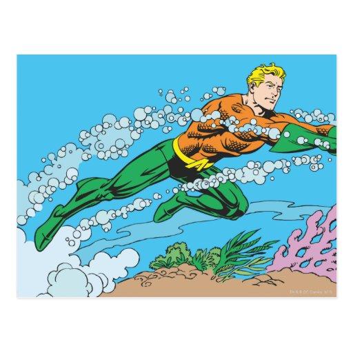 Aquaman Dashes Thru Water Post Card