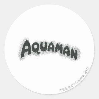 Aquaman Grunge Black Logo Round Stickers
