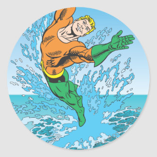 Aquaman Jumps Out of Sea Classic Round Sticker