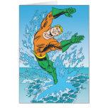 Aquaman Jumps Out of Sea Greeting Card