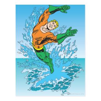 Aquaman Jumps Out of Sea Postcards