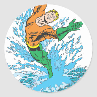 Aquaman Leaps in Wave Classic Round Sticker