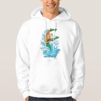 Aquaman Leaps in Wave Hoodie