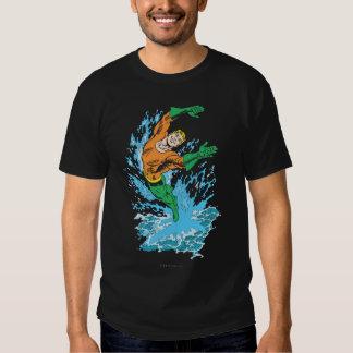 Aquaman Leaps in Wave Tee Shirt