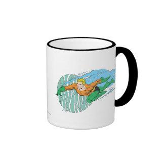 Aquaman Leaps Left Ringer Coffee Mug