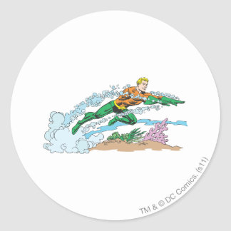 Aquaman Leaps Over Coral Classic Round Sticker