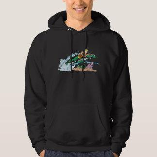 Aquaman Leaps Over Coral Hooded Sweatshirt
