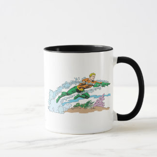 Aquaman Leaps Over Coral Mug