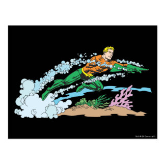Aquaman Leaps Over Coral Post Card