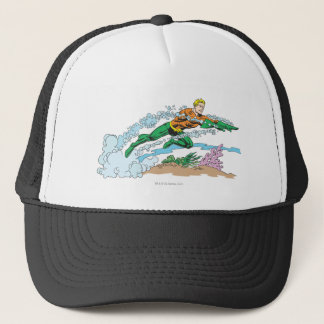 Aquaman Leaps Over Coral Trucker Hat