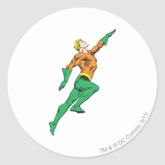 Aquaman Leaps Up Classic Round Sticker