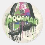 Aquaman - letra torcida de la inocencia pegatina redonda