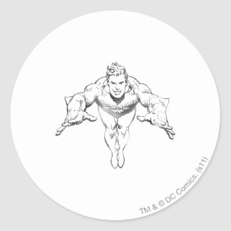 Aquaman Lunging Forward BW Classic Round Sticker