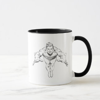 Aquaman Lunging Forward BW Mug