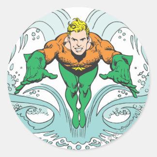 Aquaman Lunging Forward Classic Round Sticker