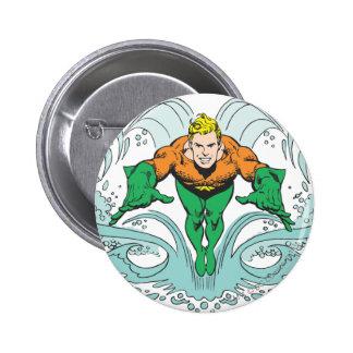 Aquaman Lunging Forward Pinback Button