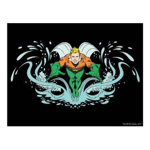 Aquaman Lunging Forward Postcards