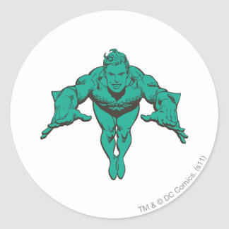 Aquaman Lunging Forward - Teal Classic Round Sticker