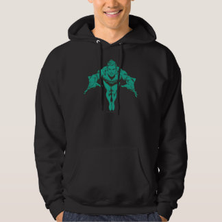 Aquaman Lunging Forward - Teal Hooded Pullover
