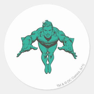 Aquaman Lunging Forward - Teal Sticker