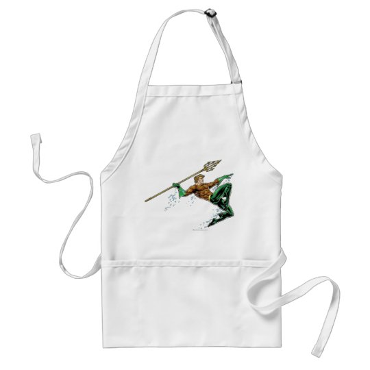 Aquaman Lunging with Spear Adult Apron
