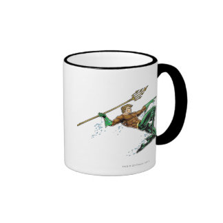 Aquaman Lunging with Spear Ringer Coffee Mug