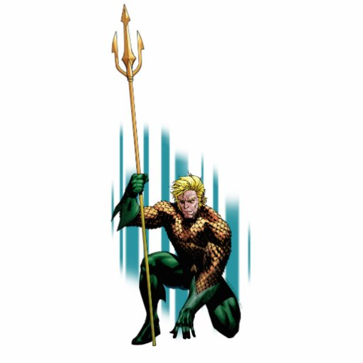 Aquaman que se agacha escultura fotografica