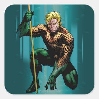 Aquaman que se agacha calcomanías cuadradases