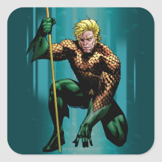 Aquaman que se agacha pegatina cuadrada