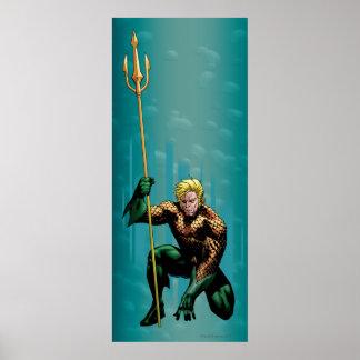 Aquaman que se agacha póster
