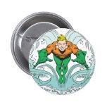 Aquaman que se lanza adelante pin redondo de 2 pulgadas